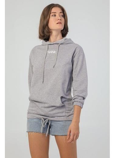 Modaset Kapüşonlu Boyfriend Sweatshirt  Gri